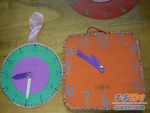 低年级小学生制作的学具 钟表图片