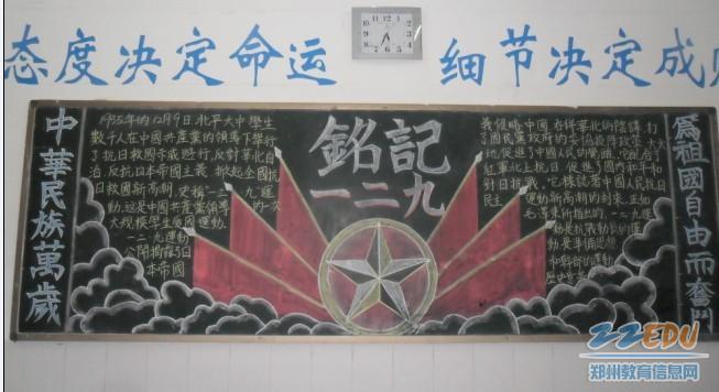 共青团补充新鲜血液——新团员合影 组织纪念一二九运动75周年黑板报图片