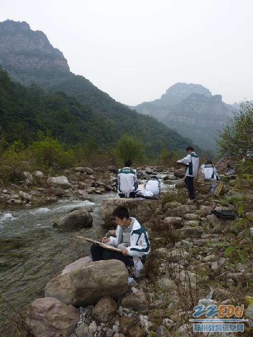 太行山风景速写图片; 106中学组织高一学生下乡写生