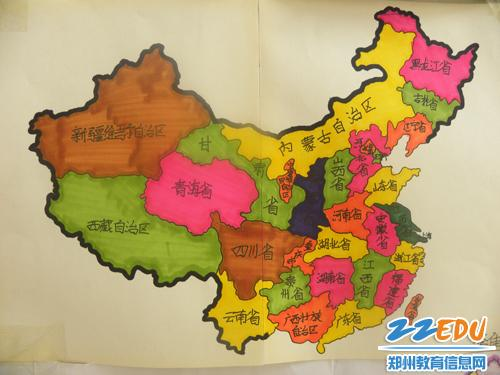 州103中学子手绘中国地图,五谷杂粮版地图 萌萌哒