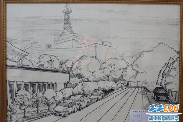 参展的优秀作品:校园一角 2015年郑州市中小学美术教师钢笔画作品展图片