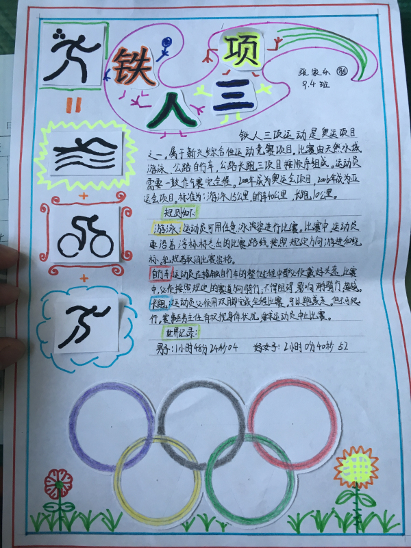 学生制作的奥运手抄报