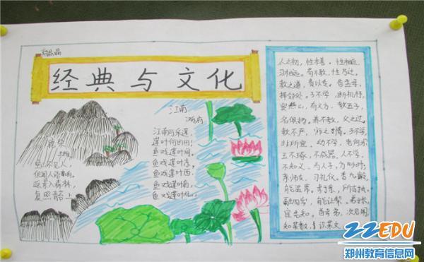 《古诗词解读》,《学庸论语》等导读教材,利用班级手抄报展板举行经典图片