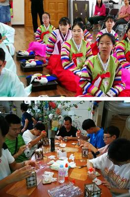 体验韩国传统文化,进行河灯制作
