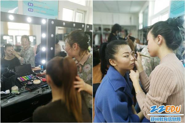 学校赛务人员为选手化妆造型