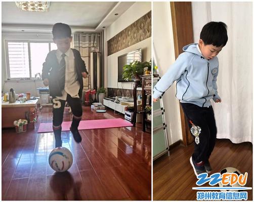 8未来小学学生体育课上进行室内足球练习