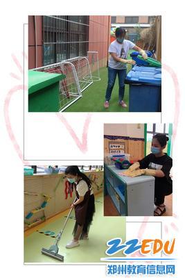 2.老师用心打扫幼儿园每个角落,践行保护环境从我做起