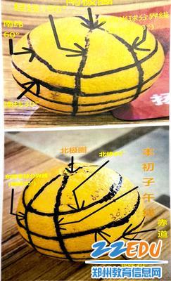 学生用橙子制作地球仪