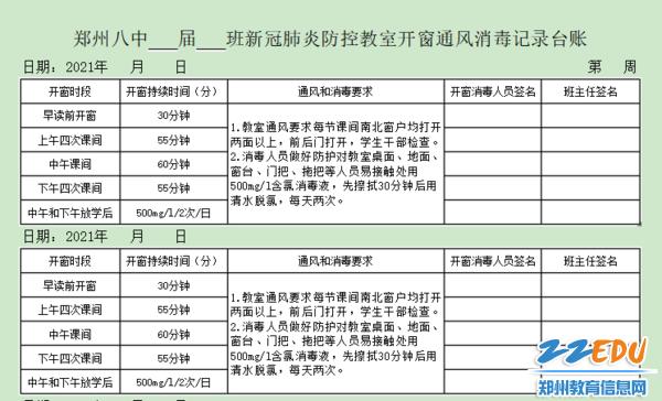 3.1月11日起施行修订版《新冠肺炎防控教室开窗通风消毒记录台账》