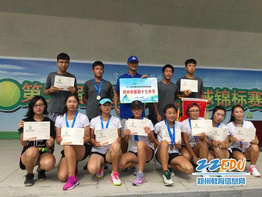 郑州47中全体网球参赛队员与教练苏文老师合影