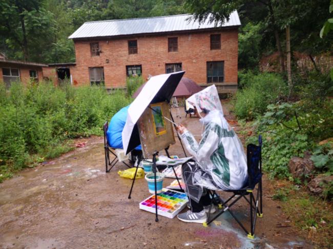9雨中作画