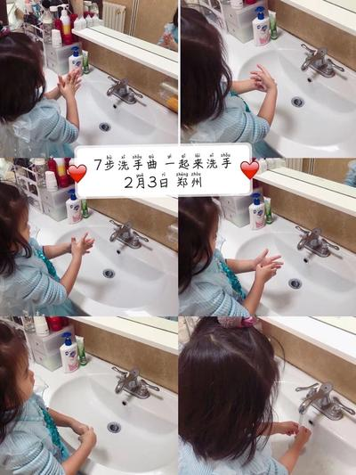 3.萌娃按照《洗手》儿歌步骤认真洗手