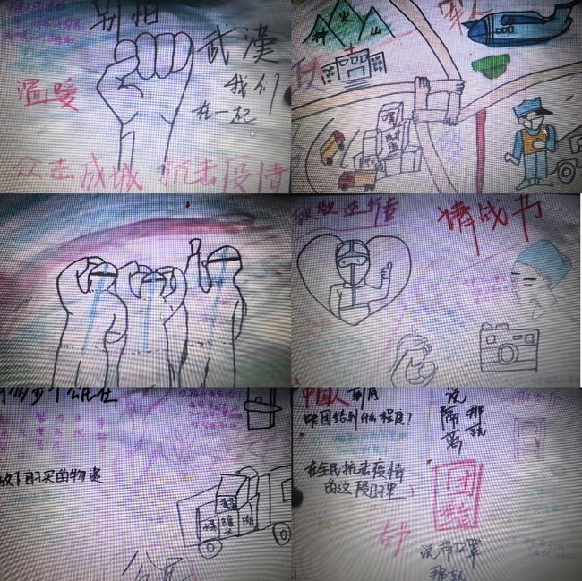 9简笔画表达国民抗击疫情,众志成城