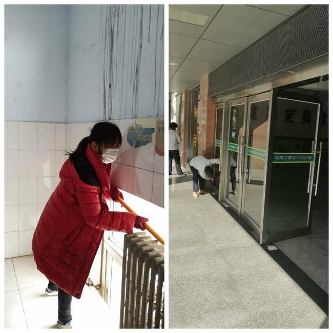 2党员志愿者联合后勤人员开展大扫除活动